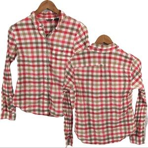 WS428 Eddie Bauer Sheer Preppy Plaid Shirt Top M